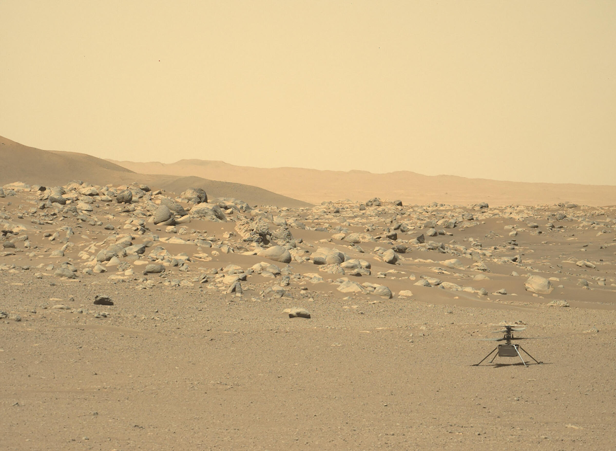 NASA's Ingenuity helicopter, photographed on the surface of Mars by the Perseverance rover on June 15, 2021