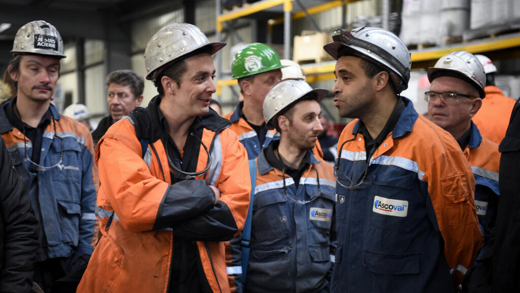 Employees of the Ascoval steel mill, in Saint Saulve,12 December 2018.