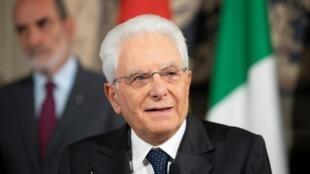 Tổng thống Ý Sergio Mattarella trả lời báo giới sau khi tham vấn với lãnh đạo các đảng chính trị, Roma, ngày 22/08/2019.