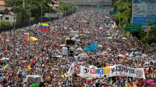 50-й день протестов в Венесуэле против политики президента Николаса Мадуро. Каракас, 20 мая 2017.