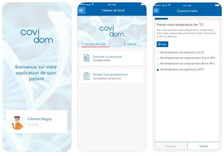 The application Covidom developed by AP-HP to monitor Covid-19 patients from home.