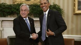 Los presidentes chileno Sebastián Piñera y norteamericano, Barack Obama, en la Casa Blanca, Washington, el 4 de junio de 2013.
