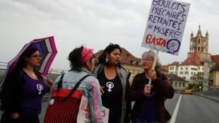 Greve de mulheres suíças destaca o fraco desempenho do país na defesa dos direitos iguais. Lausanne, Suíça, 14 de junho de 2019.