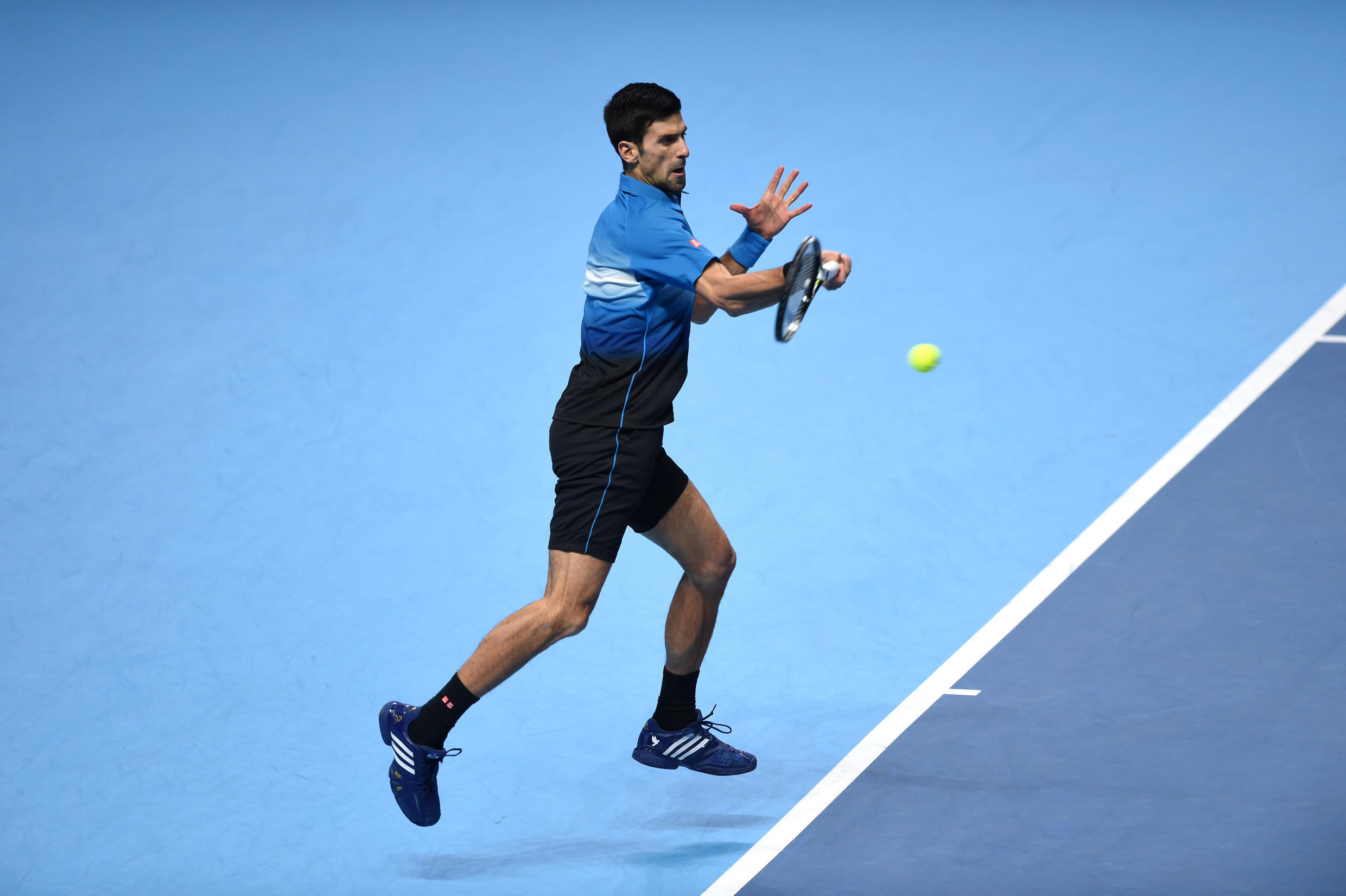 Novak Djokovic in action against Rafael Nadal in the semifinal of the ATP Tour Finals in London on Saturday.