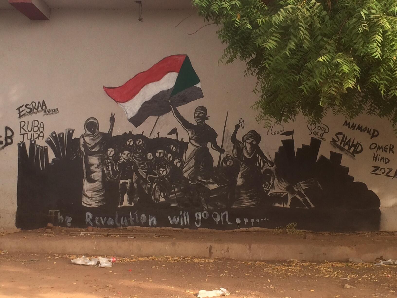 Graffiti vantant la révolution soudanaise dans les rues de Khartoum.