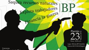 Cartaz das centrais sindicais colombianas convocando para protesto em 2010 contra BP