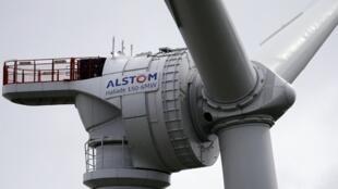Imagem parcial dum aerogerador da Alstom