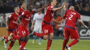 Zlatan Ibrahimovic, après avoir marqué son deuxième but de la soirée contre Marseille, le 7 octobre 2012.