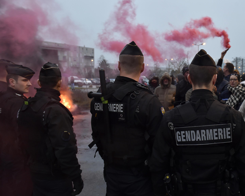 Manifestación de vigilantes el 25 de enero de 2018 delante de la prisión de Nancy-Maxéville, en el noreste de Francia.