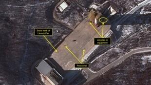 Photo satellite datée du 25 janvier 2016 du site nord-coréen de lancement de fusées connu sous le nom de Sohae.