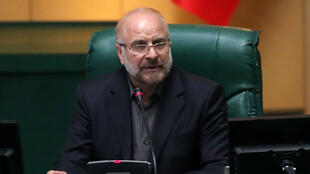 Iranian Mohammad-Bagher Ghalibaf speaks after being elected as parliament speaker