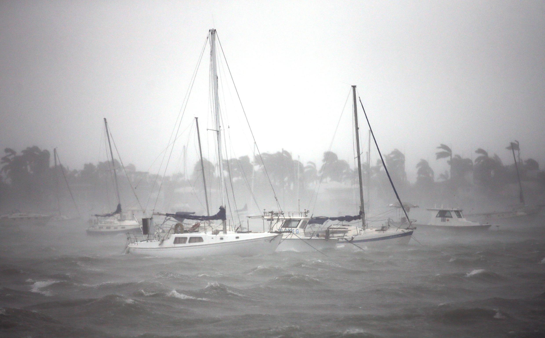 La marina de South Beach, à Miami, au moment où l'ouragan Irma touchait le sud de la Floride, le 10 septembre 2017.