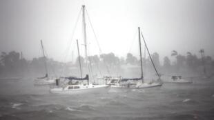 A marina de South Beach, em Miami, no momento em que Irma chegava ao sul da Flórida.