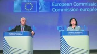 欧盟高层博雷利与朱罗娃出席记者会资料图片