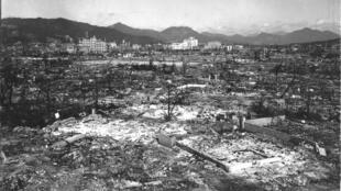 La dévastation causée par la bombe atomique à Hiroshima. Photo non datée.