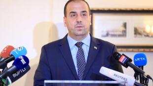 Nasr al-Hariri, líder da oposição síria, em coletiva de imprensa em Genebra em 23 de março de 2017