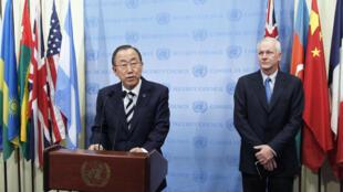 Ban Ki-moon durante coletiva de imprensa nesta segunda-feira (16) sobre os resultados da investigação do uso de armas químicas na Síria.