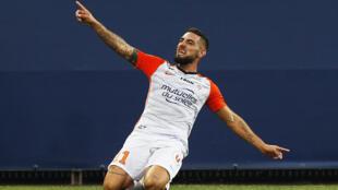 Andy Delort, ici sous le maillot de Montpellier, va disputer la CAN 2019 avec les Fennecs d'Algérie.