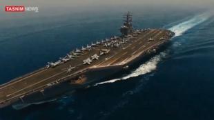 Captura de vídeo feito por drone iraniano sobrevoando um porta-aviões americano no Golfo Pérsico. l 2019.