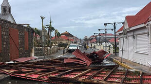 A picture released on the Facebook account of Kevin Barrallon on September 7, 2017 shows wreckages in a street of Gustavia on the French overseas collectivity of Saint-Barthelemy in the Caribbean following hurricane Irma.