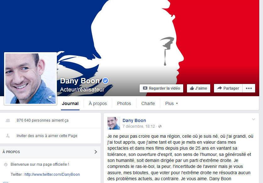O ator francês Dany Boon expressa sua indignação contra o FN em sua página no Facebook.