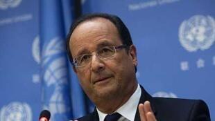 Le président  français François Hollande, à la Conférence de presse de l'Assemblée Générale de l'ONU, le 24 septembre 2013.