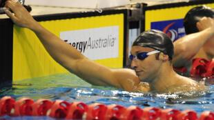 L'Australien Ian Thorpe, vainqueur de sa série du 100 m nage libre, lors des sélections olympiques, mais non qualifié pour les Jeux de Londres, le 18 mars 2012 à Adelaïde