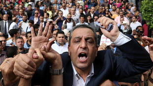 Yehia Kalash, head of the Egyptian Journalists' Syndicate, during a protest in downtown Cairo on 4 May 2016.
