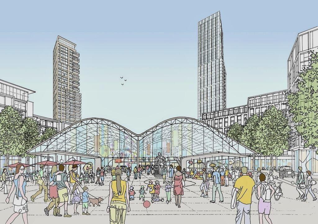 李嘉誠的和黃集團斥資10億英鎊打造的Convoys Wharf畫家筆下一景。