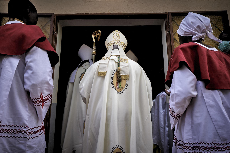 Mgr Jean-Baptiste Tiama, évêque de Mopti, en novembre 2020.