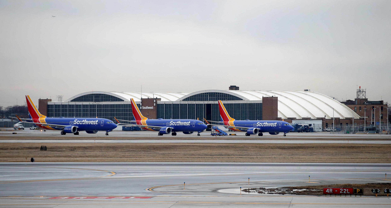 Aviones Boeing 737 MAX de la compañía aérea Southwest Airlines, barados en el Midway International Airport de Chicago, el 13 de marzo, 2019, tres días después del accidente de Ethiopian Airlines.