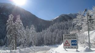 French police have been monitoring irregular migration at the Col du Portillon pass on the Franco-Spanish border in the Pyrénées Mountains, photographed here in January 2017. The mountain road was the sight of an anti-migrant protest by far-right group Génération Identitaire on 19 January 2021.