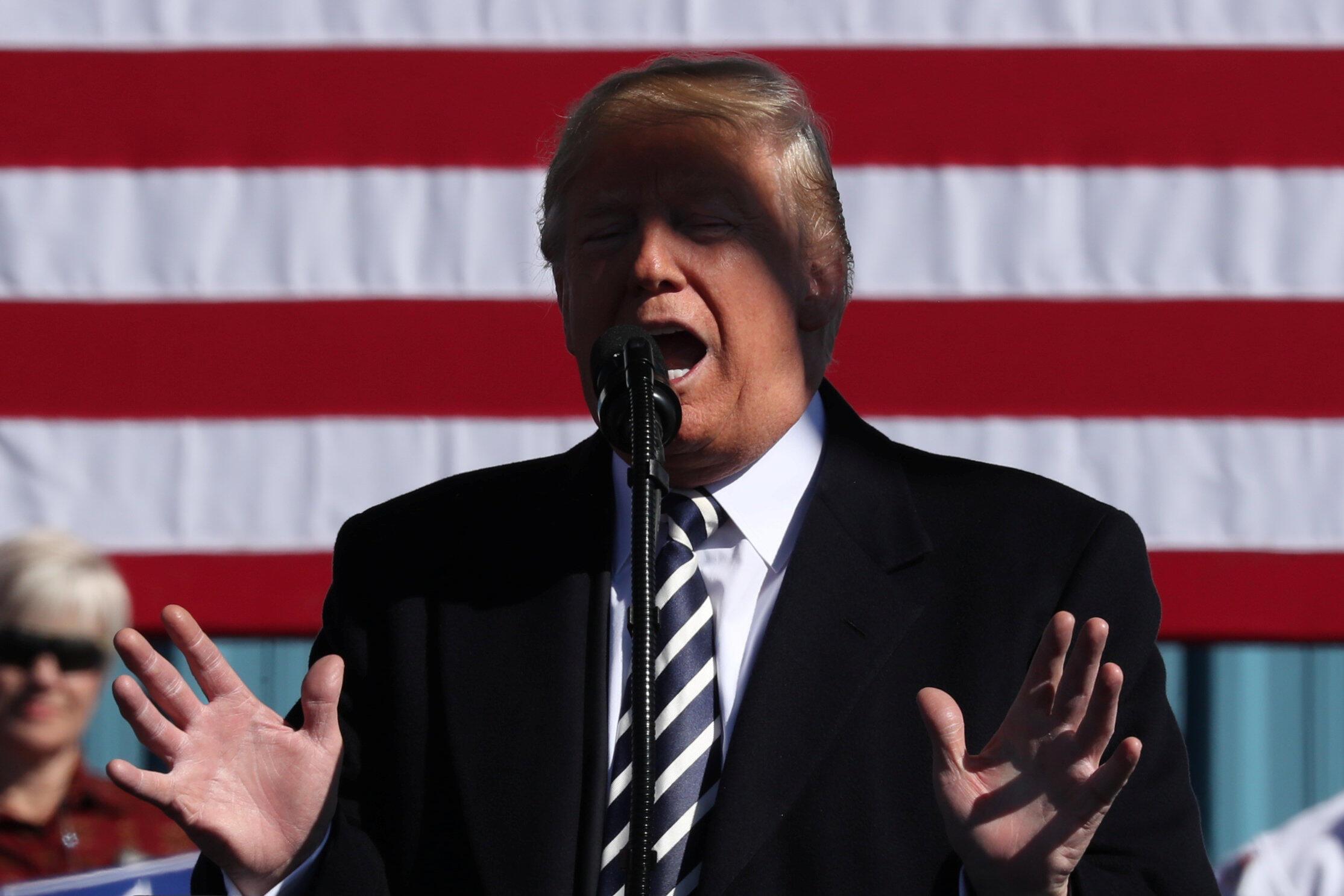 Президент США Дональд Трамп на предвыборном митинге в штате Невада, 20 октября 2018 г.