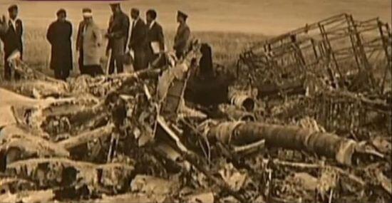 前中共副主席林彪所乘飛機墜毀蒙古後的殘骸