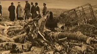 前中共副主席林彪所乘飞机坠毁蒙古后的残骸