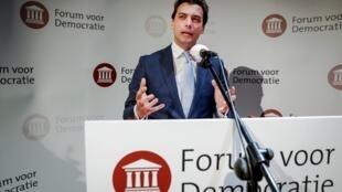 Thierry Baudet, líder de la formación FvD en Holanda.