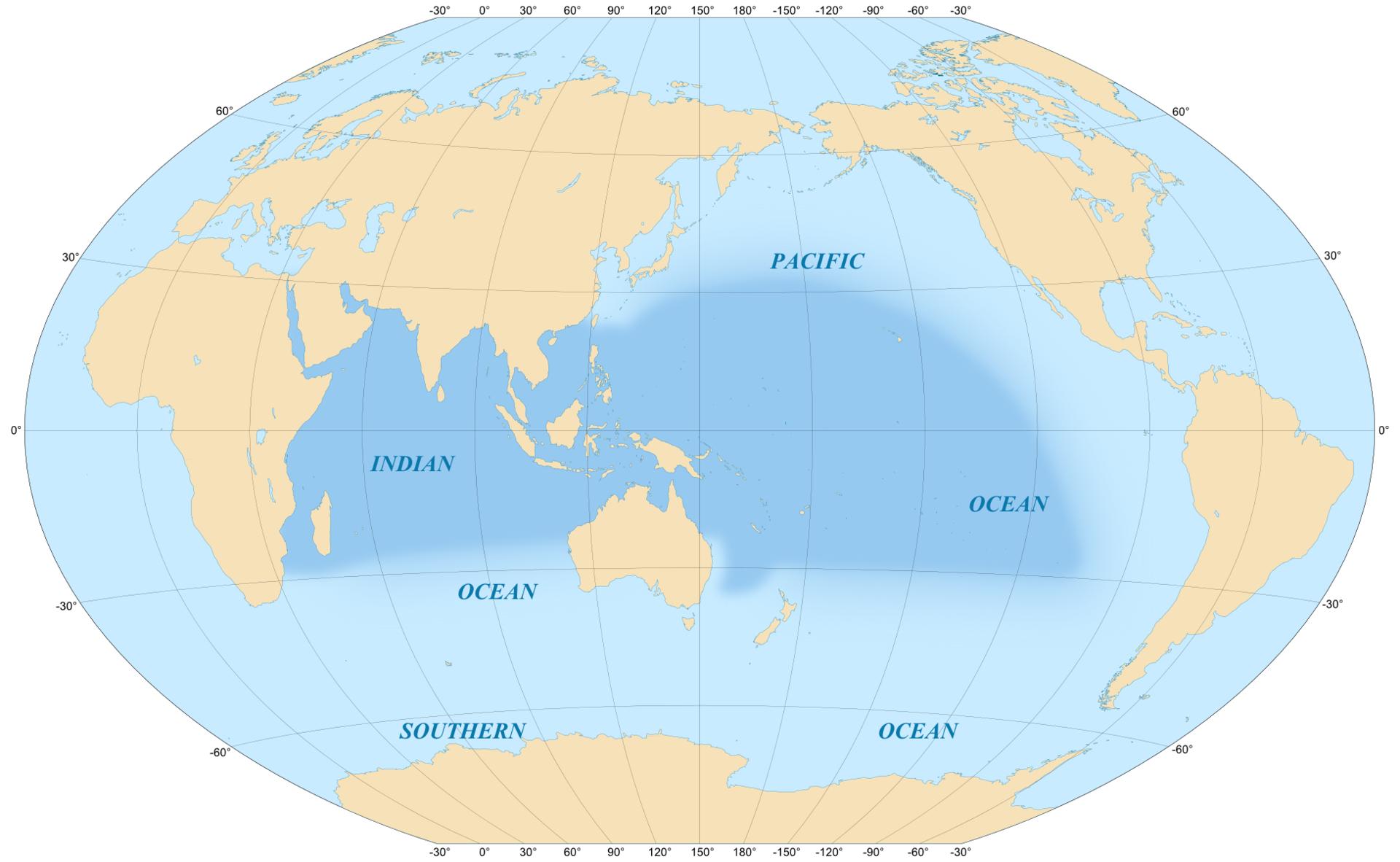 Vùng biển Ấn Độ - Thái Bình Dương (phần màu đậm trong bản đồ), địa bàn chiến lược mới trong chính sách an ninh của Hoa Kỳ và nhiều quốc gia đồng minh.