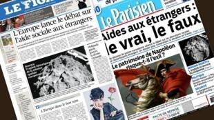 Capa dos jornais Le Figaro e Le Parisien desta quinta-feira, 13 de novembro de 2014.