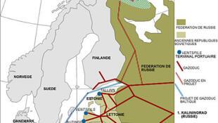 Nord Stream 1 (xanh) nối liền Greifswald-Đức với Vyborg-Nga xuyên qua lòng biển Baltic.