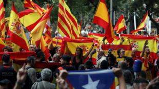 Biểu tình ủng hộ trưng cầu dân ý về độc lập tại Barcelona, Tây Ban Nha, ngày 22/09/2017