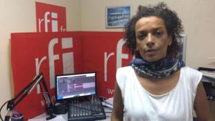Laurence Magloire au studio de Koze Kilti à Port au Prince.