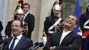 French President François Hollande with Rafael Correa on Thursday