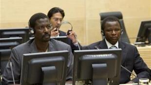 Abdallah Banda (L) and Saleh Jerbo at the ICC, 17 June, 2010