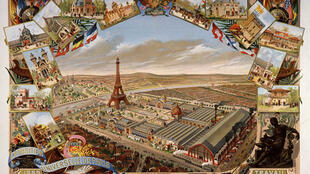 A postcard of the 1880 Exposition Universelle, hosted by France, for which the Eiffel Tower was built
