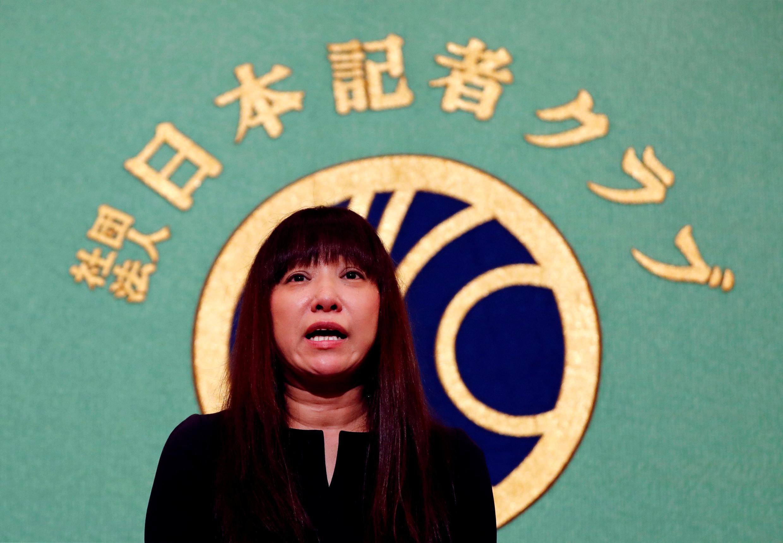 日本自由撰稿人安田純平的妻子在一次新聞發布會上 2018年8月7日