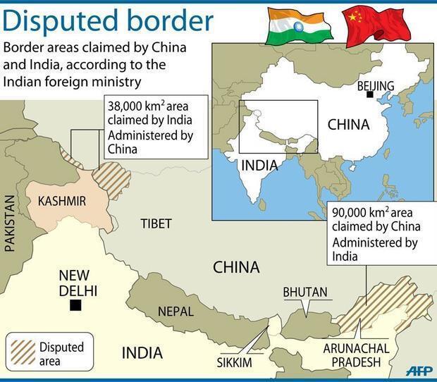 Các vùng tranh chấp tại biên giới Ấn - Trung.