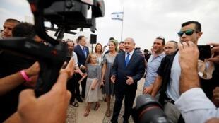 O primeiro-ministro israelense Benyamin Netanyahu depois do último Conselho de Ministros antes das eleições legislativas