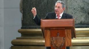 Raul Castro, lors de la cérémonie en l'honneur des dirigeants de la révolution cubaine à la Havane, le 24 février 2018.