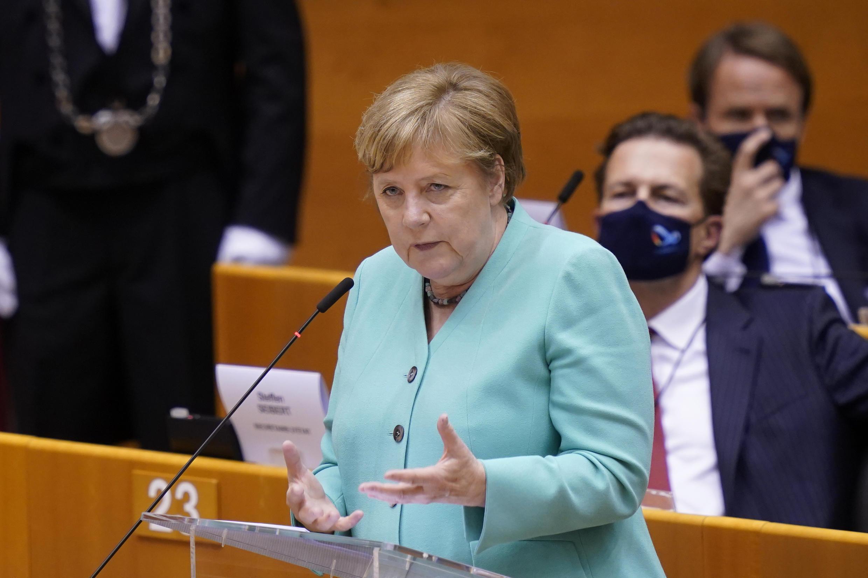 Angela Merkel speaking at the European parliament