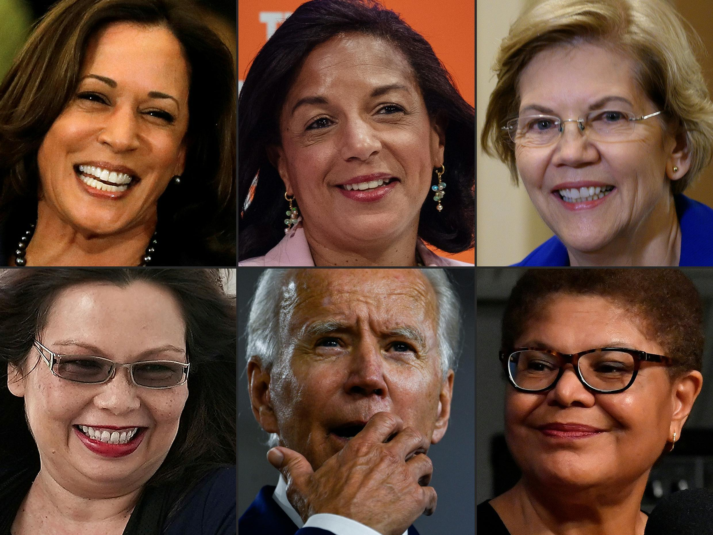 Esta combinación de imágenes de archivo muestra a Joe Biden (centro, abajo) rodeado de quienes podrían convertirse en su compañera de fórmula para las elecciones presidenciales de Estados Unidos: (en sentido horario, desde arriba a la izquierda) Kamala Harris, Susan Rice, Elizabeth Warren, Karen Bass y Tammy Duckworth